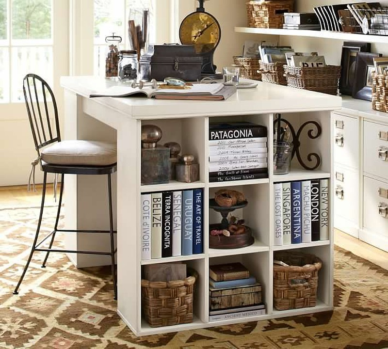 Custom-built island and bookshelf