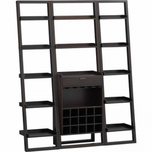 Custom-built leaning shelf