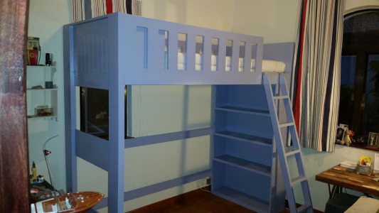 Custom-built boy's storage bed and bunk