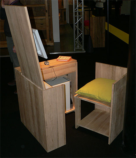 Custom-built hidden desk and chair that fits neatly together, Repulse Bay