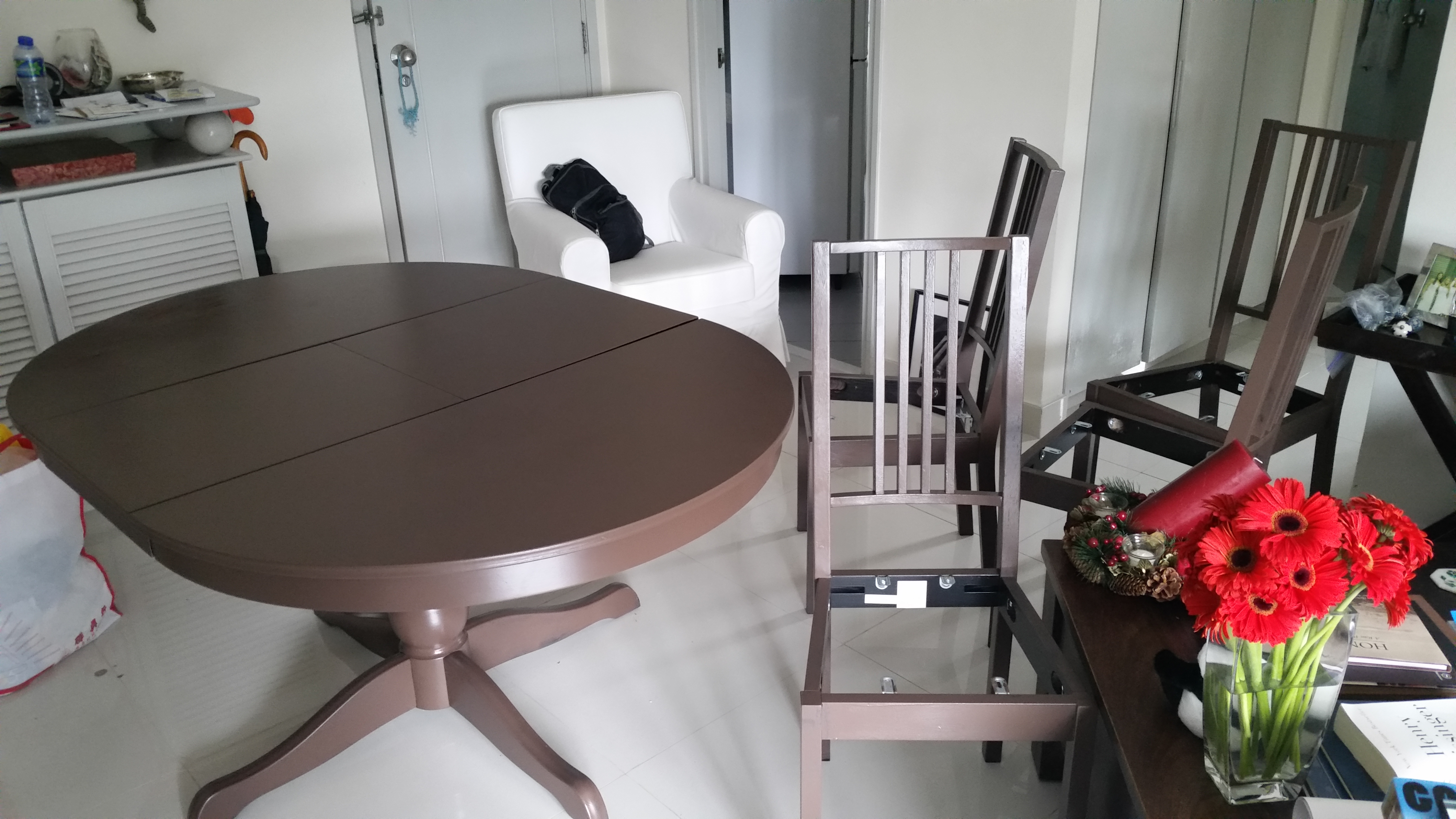 Ikea table refinished to look like wood, Conduit Road